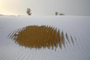 塔克拉玛干沙漠雪景如画