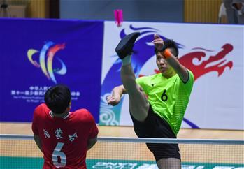 毽球男子三人賽1/4決賽:內蒙古隊勝上海隊