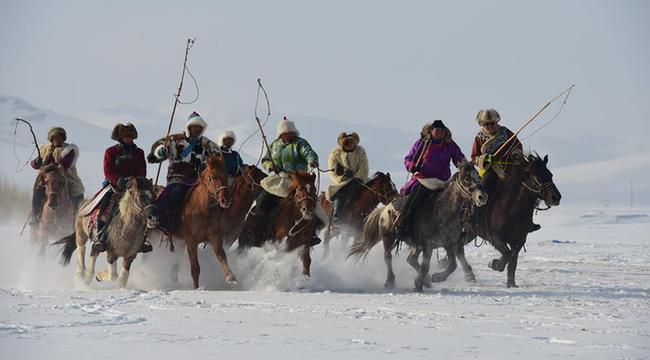 冬日草原 雪地奔馬