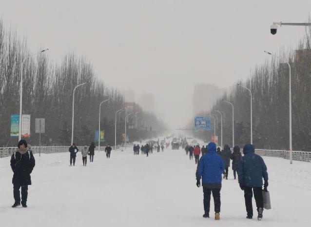 通遼降暴雪 市民徒步上班
